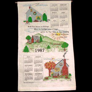 Vintage Linen Calendar  1987 Different Seasons